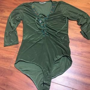 Green lace up bodysuit
